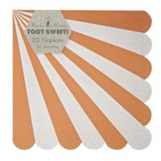 Serviettes en papier rayures corail - Lot de 20