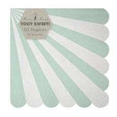 Serviettes en papier rayures vertes - Lot de 20