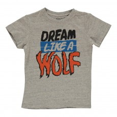 "T-shirt ""Dream Like A Wolf"" Mome Gris clair"