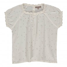 Blouse Satin De Coton Cœurs Blanc
