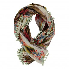 Foulard Hawaii Pompons Multicolore