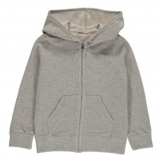Sweat Zippé A Capuche Lurex Gris