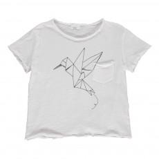 T-shirt Oiseau En Papier Cesar Blanc