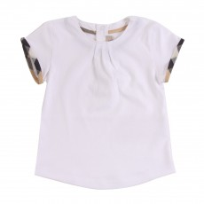 T-shirt Col Plissé Blanc