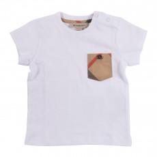 T-shirt Poche Tartan Bébé Blanc