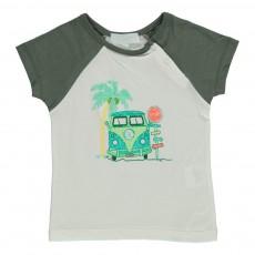 T-shirt Bicolore Van Et Palmier Blanc