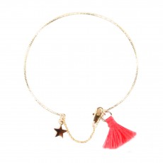Bracelet Pompom Etoile Corail