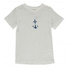 T-shirt Coton Bio Ancre Bleu Ivoire