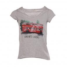 T-shirt Bus Londonien Nicky Gris chiné