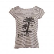 T-shirt Rayé Coton Lin  Nicky Noir