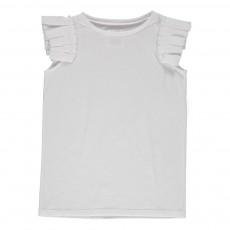 T-Shirt Brillante Plissé Blanc