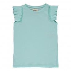 T-Shirt Brillante Plissé Vert d'eau