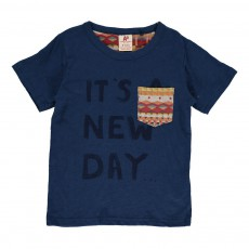 "T-shirt ""It's A New Day"" Bleu indigo"