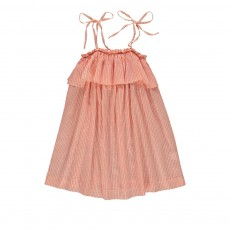 Robe Rayée Coton Et Soie Orange
