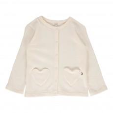 Cardigan Poches Cœurs Blanc
