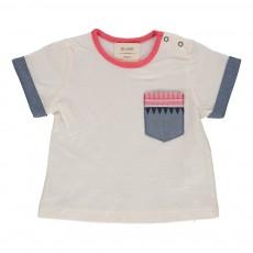 T-shirt Poche Ethnique Frenchy Blanc