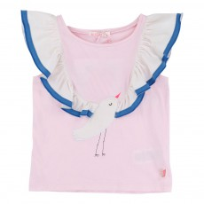 T-shirt Volants-Oiseau Rose
