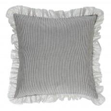 Housse de coussin rayée Théa - Noir et blanc