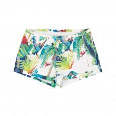 Short Perroquets Jungle Blanc
