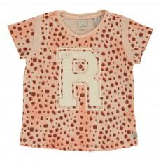 """T-shirt """"R"""" Rose pêche"""