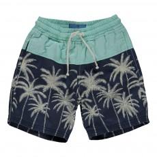 Short De Bain Bicolore Palmiers Bleu indigo