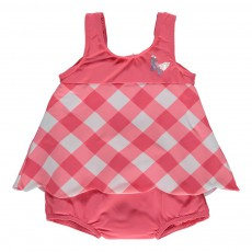 Maillot Une Pièce Vichy Double Protection Rouge