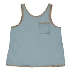 Top Denim Brodé Caroline Denim bleached