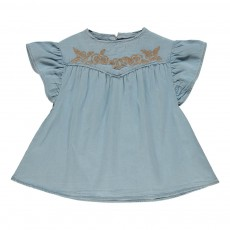 Blouse Brodée Denim Lilie Denim bleached