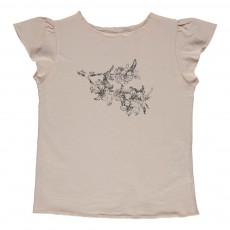 T-shirt Fleurs Papillon Rose pâle