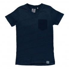 T-shirt Tie&Dye Poche Imprimée Bleu jean