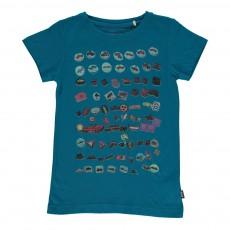 T-Shirt Imprimé Badges Bleu