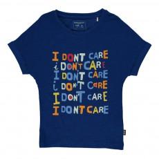 T-Shirt Imprimé I Don't Care Bleu