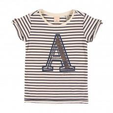 """T-shirt Rayé """"A"""" Ecru"""