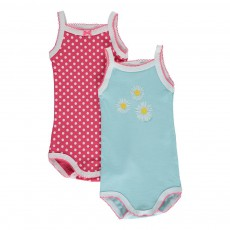 Lot de Deux Bodies Bretelles Poislait Multicolore