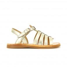 Sandales Plagette Strap Doré
