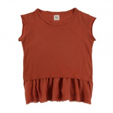 Top Volant Celeste Rouge