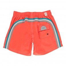 Short de Bain Uni Bande Tricolore Orange fluo