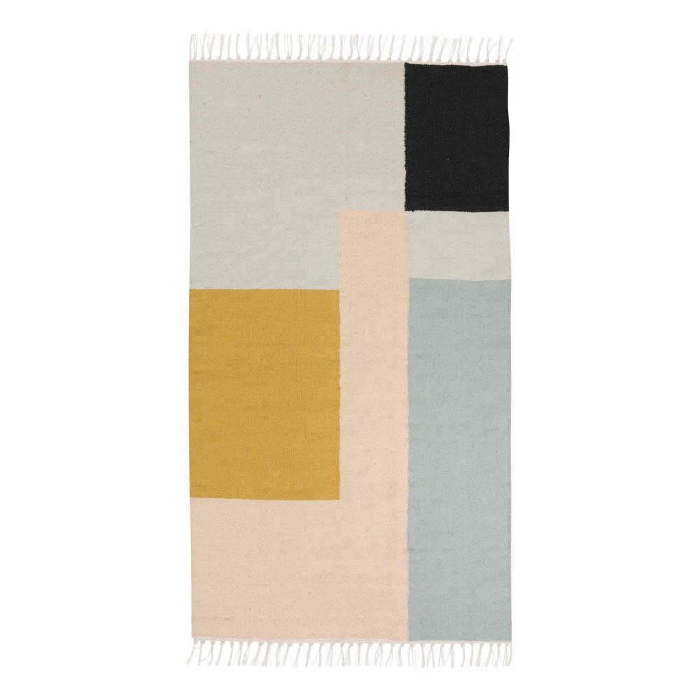 tapis kelim carres multicolores 80x140 cm ferm living With tapis carrés multicolores