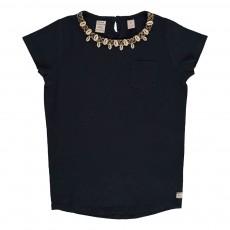 T-shirt Encolure Coquillages Noir