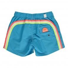 Short de Bain Uni Bande Tricolore Bleu azur