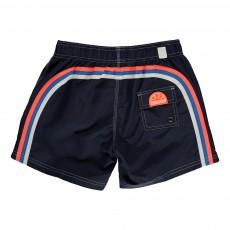 Short de Bain Uni Bande Tricolore Bleu