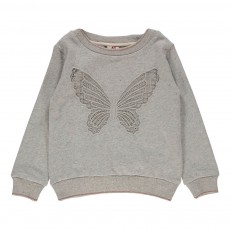 Sweat Papillon Brodé Gris clair