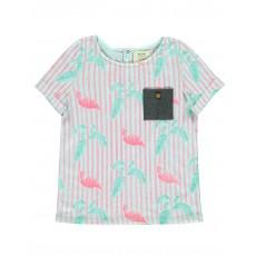 T-shirt Flamants Roses Tropicool Vert d'eau