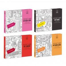 Lot de 4 pocket cartes Paris, Londres, Barcelone et New-York