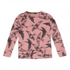 T-Shirt Oiseaux Shine Vieux Rose