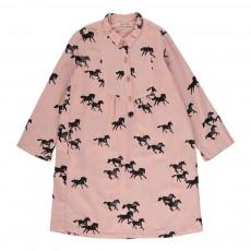 Robe Chemise Chevaux Sauvages Rose pâle