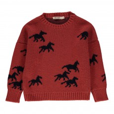 Pull Jacquard Chevaux Rouge