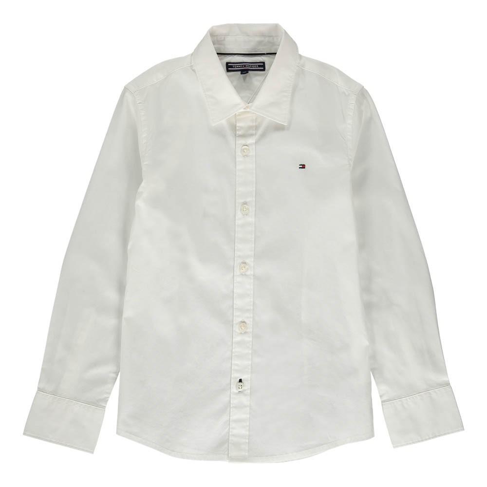 chemise slim fit popeline solid blanc tommy hilfiger mode ado gar on smallable. Black Bedroom Furniture Sets. Home Design Ideas