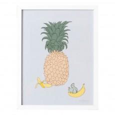 Affiche ananas 30x40 cm Multicolore