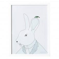 Affiche lapin 30x40 cm Vert pâle